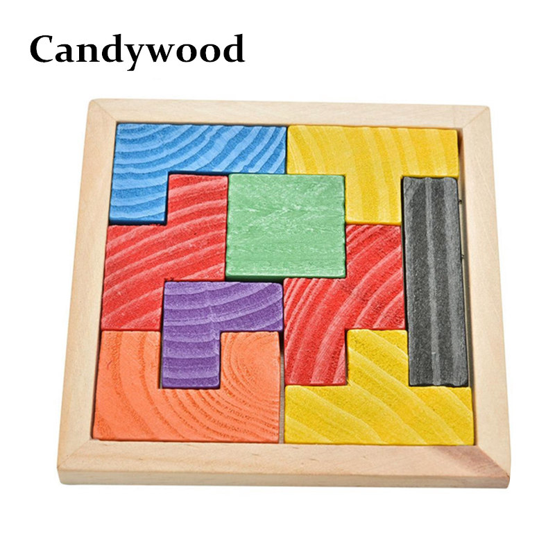 Candywood Mini Wooden Tetris Game Montessori Tangram Brain Teaser Puzzle for Baby Kid Toys Educational 3D Jigsaw Puzzles(China (Mainland))