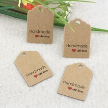 3x2cm100pcs/lot kraft tags Excellent Quality Brown Kraft Paper Gift Tags Wedding Luggage Scallop Label kraft tag(China)