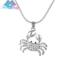 Miss Lady fashion cute crab shape crystal Necklace Women Summer Beach Jewelry Statement Jewelry Art Deco Necklace MLDZ009(China)