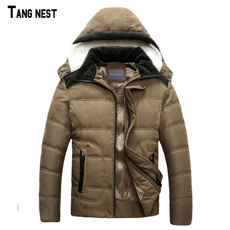 TANGNEST Men Winter Coat 2017 New Men Casual Solid Hooded Coat Men Thick Fleece Winter Wear Coat MWM1236Одежда и ак�е��уары<br><br><br>Aliexpress