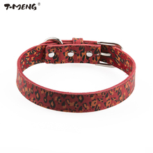 T-MENG Genuine Leather Dog Collar For Puppy Small Pets Leopard Pattern Pet Collars Fashion Cat Necklace Good For Pet Products(China)