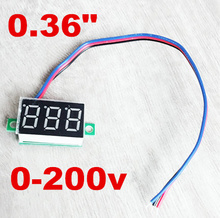 "500pcs by dhl fedex dc 0-200V 0.36"" Digital Voltmeter tester 3 digit Voltage Meter Panel red led Display Three wires 40% off(China)"