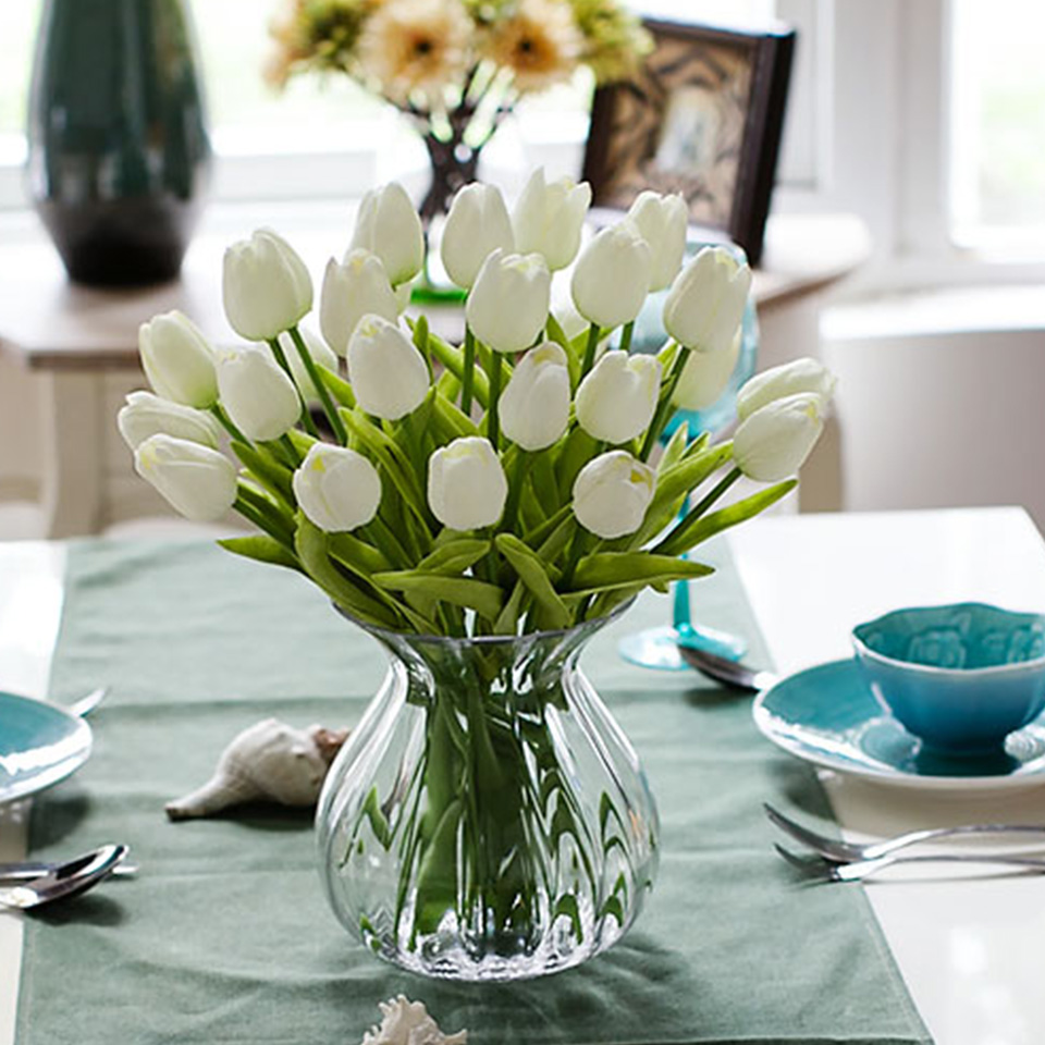 1pc PU Tulip Artificial Flowers Mini Tulip Flower Real Touch Wedding 10 Colors Fake Flowers Tulips For Home Decoration 11