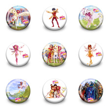 Mia and me Cartoon Badges Pins Bag/Clothes Accessory Round Buttons Kids Gift Party Favor Papelaria material escolar Badge holder(China)