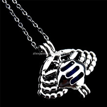 R-K177 Crab Cancer Pendant Necklace Pearl Bead Cage Charm Essential Oil Diffuser Trendy Constellation Locket Necklace Women