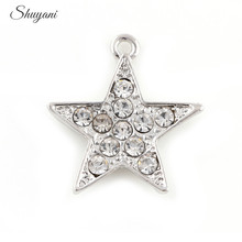 21*23mm Rhinestone Crystal Star Charms Silver/Gold Color Five-pointed Star Charms Pendant fit Bracelet Necklace Jewelry Findings