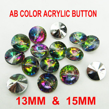 1000PCS 15MM 13mm  AB COLOR  shirt ACRYLIC button  for KIDS clothes accessory jewelry GARMENT brand buttons A-038-1