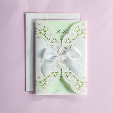 Customize White Laser Cut Lace Ribbons Bow Wedding invitation Kit Blank Printing Invitations Card Set Green Inside Paper