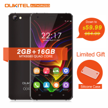 Oukitel C5 5.0'' MTK6580 Android 7.0 Mobile Phone Quad Core 2GB RAM 16GB ROM Tough Screen 5V/1.0A Quick Charge 2000mAh