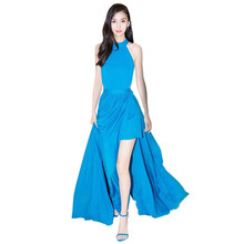 2018 runway womens fashion elegant blue dress womens clothing long party  dress halter neck sleeveless bare midriff maxi dresses b83830e99e36