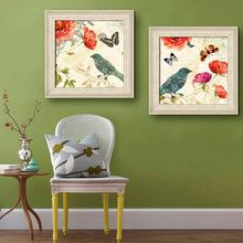 Free Shipping Framed Canvas Painting Art Butterfly Flowers And Birds Painting Canvas Print Wall Art Home Decor Decoration