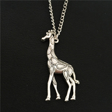 Giraffe Jewelry, Funky Asia Big Animals Antique Silver Giraffe Pendant 70CM Sweater Chain Necklace Women Wedding Party Jewelry