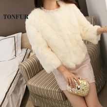 100% Pure Rabbit Fur Coat Women Real Rabbit Fur Jacket Three Quarter Waistcoat Genuine Fur Fashion DFP933(China)