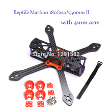 Newest Reptile Martian II 180mm / 220mm / 250mm w/ 4mm Arm Thickness Carbon Fiber Frame Kit w/ PDB For FPV Racing RC Multicopter(China)