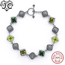 J.C 100% Genuine 925 Standard Sterling Silver Bracelet Christmas Gifts For Women Dlicate Emerald Peridot Topaz Bracelets(China)