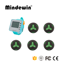 Mindewin High Quality 1pc M-W-1 Watch Pager Receiver+5pcs M-K-4 Call Button Wireless Pager System For Cafe Shop(China)