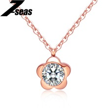 7SEAS Cute Flower Women Pendant Necklace Romantic Petals Design Rose Gold Color Women Jewelry Necklaces Christmas Gift,JM1124