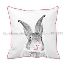 cute grey rabbit printed custom white cushion cover with pink edge animal decorative throw pillow case for home and sofa