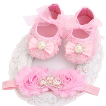 2016 New Girl Infant Tiara Baby Shoes White First Walkers;Newborn Baby Girl Shoes;Toddler Shoes With Pearl Boots Headbands Sets(China)
