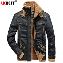 LKBEST 2017 New Autumn Winter Men Leather Jacket thick Motorcycle Leather Coat Outerwear Casual Retro Leather Jackets (PY41)