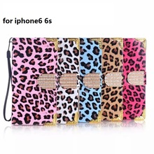 Electroplating Flip Case for iPhone6S 6S Plus Luxury Bling Rhinestone Leopard Grain Fashion Case With Card Slot