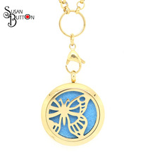 10Pcs Gold Butterfly Purfume Locket Pendants Stainless Steel Magnetic Aromatherapy/Essential Oils Diffuser Lockets Pendant