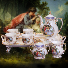 Bone china coffee set suits European afternoon tea fashion creative 8 pcs tea set home restaurant exquisite decoration High-end(China)