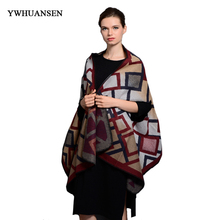 YWHUANSEN Hot-sale Winter Scarves For Women Fall 2017 Female Poncho Women's Capes Faux Cashmere Pashmina Ladies Scarves Sjaals(China)