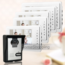 "FREE SHIPPING Cheap 7"" Video Intercom Home Door Phone System 5 White Monitor 1 Night Vision Doorbell Camera In Stock Wholesale"