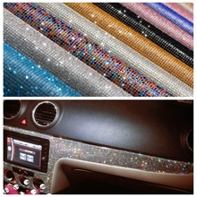 24X40CM Car Crystals Rhinestones Car Decor Decal Styling Accessories Mobile/pc Art Diamond Self Adhesive Stickers Pink Purple