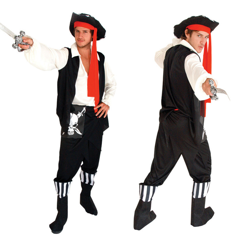 Halloween Cosplay Fancy Party  Adult Men Stage Performances Costumes Skeletons Pattern Pirate Clothes+Hats Suits<br>