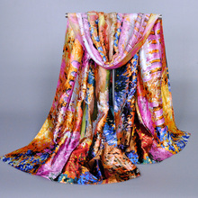 High quality Women's printe polyester fence design flower silk satins shawls long plain wrap scarves/scarf 10pcs/lot 165*50cm(China)