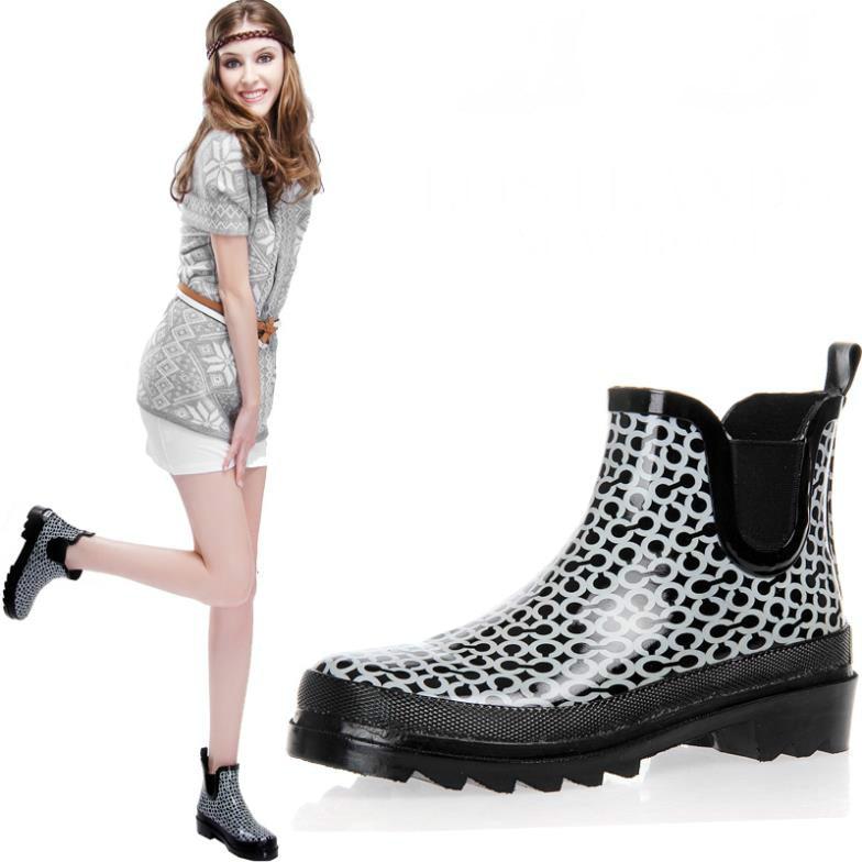 Ankle Boots Women Rain Boots Rainboots Botas Femininas 2017 Rubber Boots Galocha Red And Black Platform Womens Shoes<br>