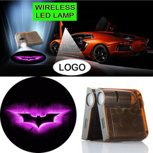2pcs Car Truck Door Welcome LED Logo Light Projector Shadow Lamp Wireless Ghost Light Logo For PURPLE BATMAN #2416