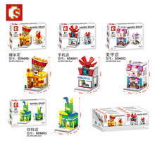 sembo block moc lepin cities mini street view Beverage,Popcorn ,Mobile phone shop, Manicure shop bela bricks toys for kid gift(China)