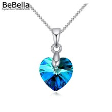 BeBella mini heart pendant necklace made with 10mm heart crystals from Swarovski thin chain 2017 fashion women girls gift