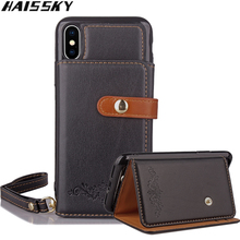 Haissky 2 in 1 Phone Case For iPhone X 6 6S 7 8 Velcro Wallet Cover Stands Leather Case For iPhone 7 Plus 6S 6 Plus 8 Plus Coque(China)