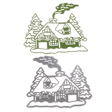 1pcs Metal Steel Santa Claus Cutting Dies Stencil DIY Scrapbooking Album of Santa Claus Chimney House Decorate with Pine