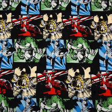 90X100cm The Avengers Super Hero Colorful Comic Characters Black Cotton Fabric for Boy Clothes Hometextile Curtain DIY-AFCK686(China)