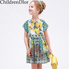 Kids Costumes Girls Summer Dress 2017 Brand Toddler Girls Clothes Princess Green Fan Dress with Printed Roupas Infantis Menina(China)