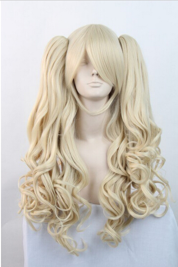 parrucca perruque DYZ+++516 New Lolita Long Blonde Halloween Cosplay Party Curly Full Wig + 2 Ponytails<br><br>Aliexpress