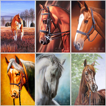 5d Diy Diamond Painting Brown Horse Handicraft Needlework Embroidery Resinstone Diamond Cross Stitch Mosaic Wedding Decoration