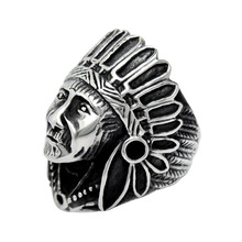European and American Retro Indian Chief Shape Titanium Rings Influx Of People Punk Rings For Man And Women