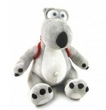 Candice guo plush toy stuffed doll gray backkom bear with backbag funny cartoon anime model baby birthday present gift 30cm 1pc