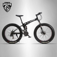 "LAUXJACK Mining two-ply bicycle steel folding frame 24 speed Shimano mechanical disc wheel disc brakes 26 ""x4.0 Fat Bike(China)"