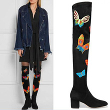Choudory 2017 Women Winter Thigh High Boots Butterfly Printed Over The Knee Boots Chunky Heel Leather Stretch Brand Shoes Woman