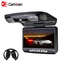 Cemicen 9 inch Car Roof Mount Flip Down Monitor LED Digital Screen DVD Player IR FM Transmitter USB SD MP5 Support 32 Bits Game(China)