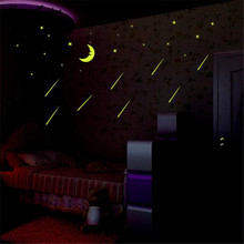 Luminous Wall Stickers A Set Kids Bedroom Fluorescent Glow In The Dark Stars Wall Stickers Wallpaper Bedroom Wall Decals D9