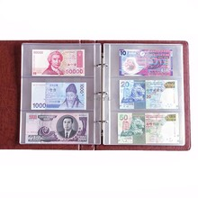 PVC Album Pages 3 Pockets Money Bill Note Currency Holder PVC Collection 180x80mm Albums Folders(China)