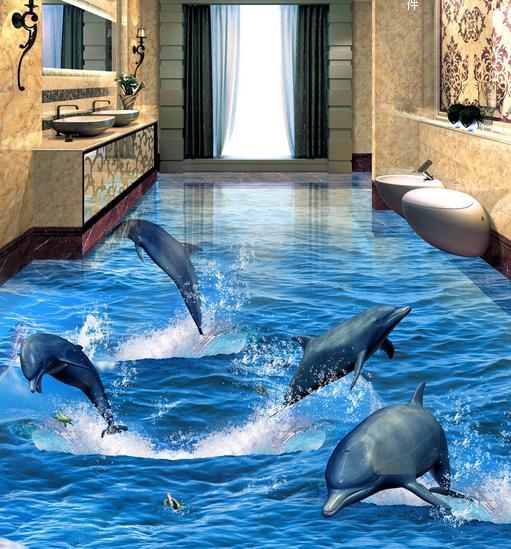 3d photo wallpaper customs 3d dolphin floor wallpaper living room wallpaper The underwater world floor painting vinyl wallpaper<br>
